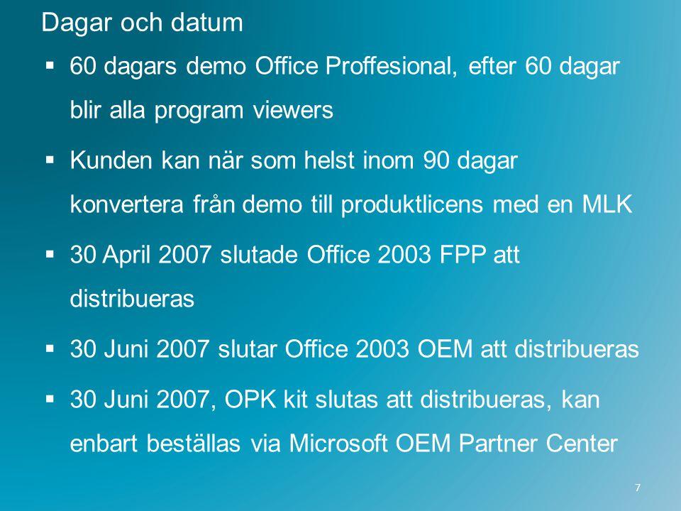 Dagar och datum 60 dagars demo Office Proffesional, efter 60 dagar blir alla program viewers.