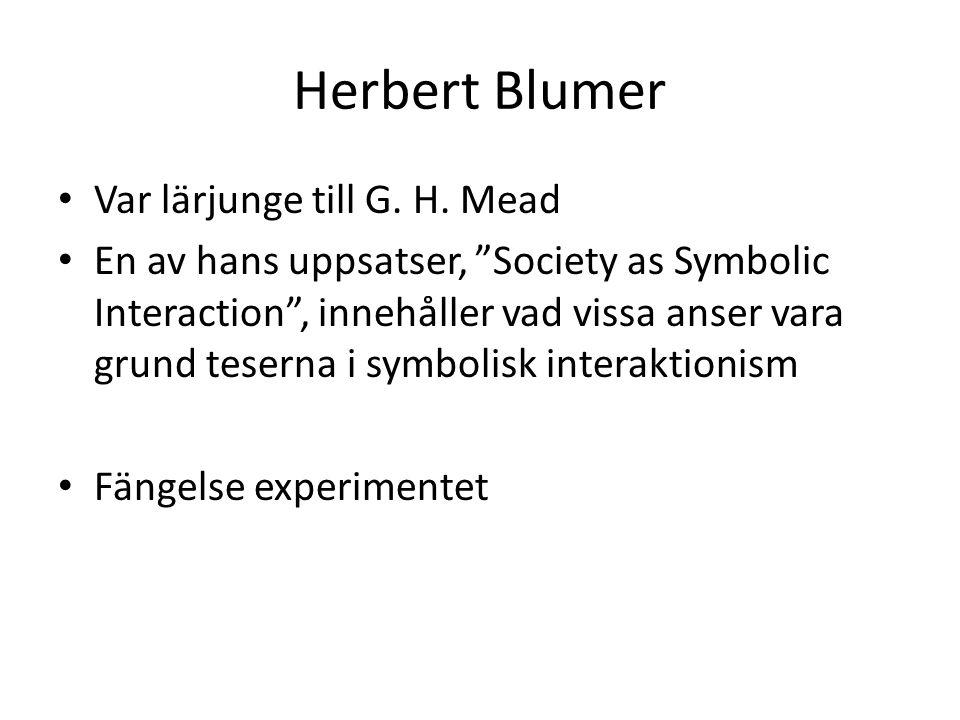 Herbert Blumer Var lärjunge till G. H. Mead