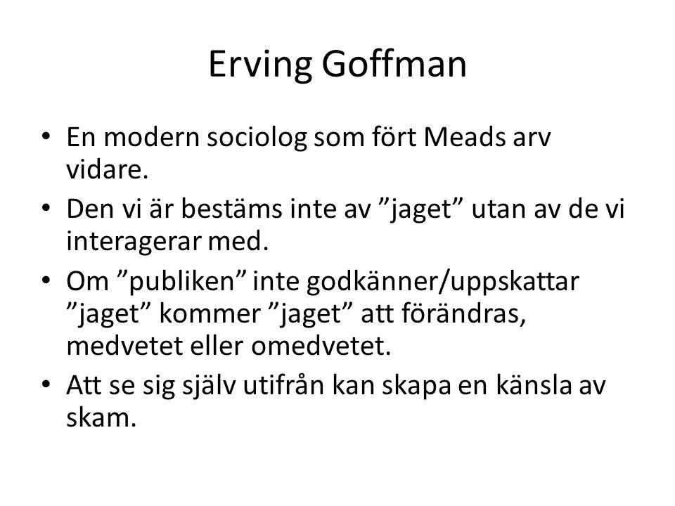 Erving Goffman En modern sociolog som fört Meads arv vidare.