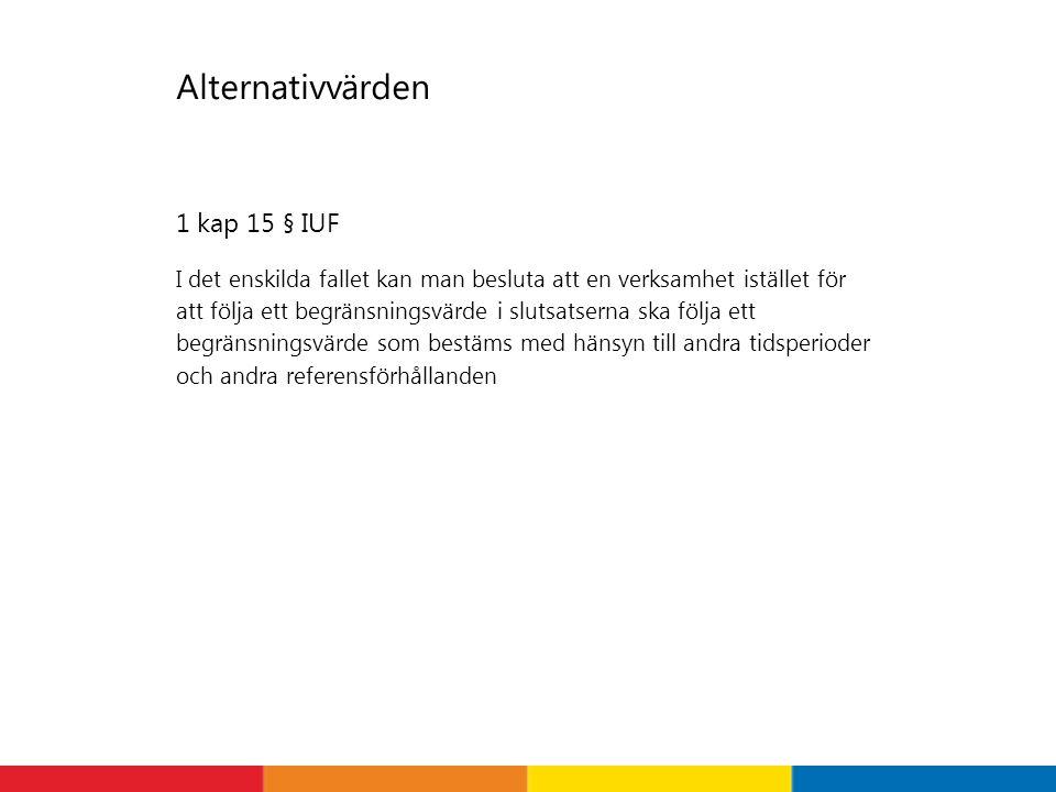 Alternativvärden 1 kap 15 § IUF