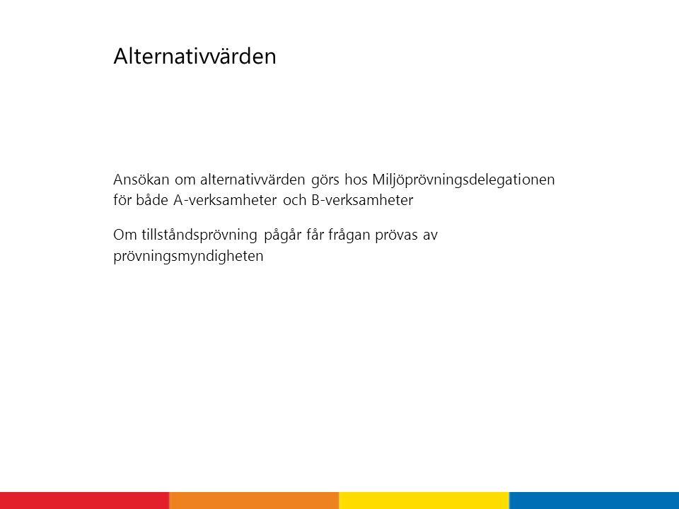 Alternativvärden Ansökan om alternativvärden görs hos Miljöprövningsdelegationen för både A-verksamheter och B-verksamheter.