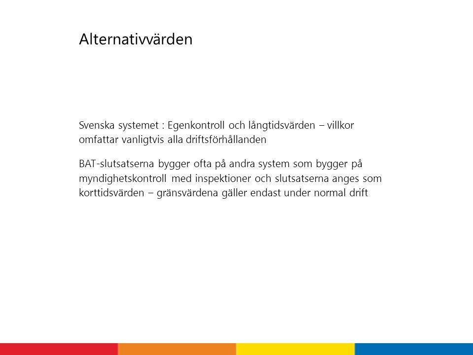 Alternativvärden Svenska systemet : Egenkontroll och långtidsvärden – villkor omfattar vanligtvis alla driftsförhållanden.