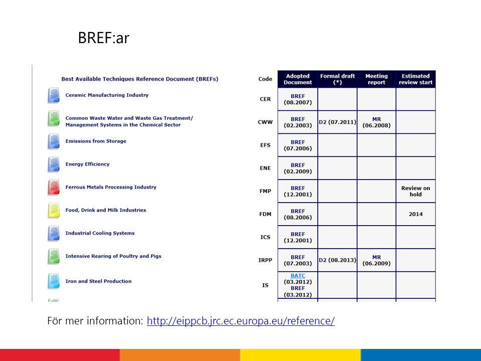 BREF:ar För mer information: http://eippcb.jrc.ec.europa.eu/reference/