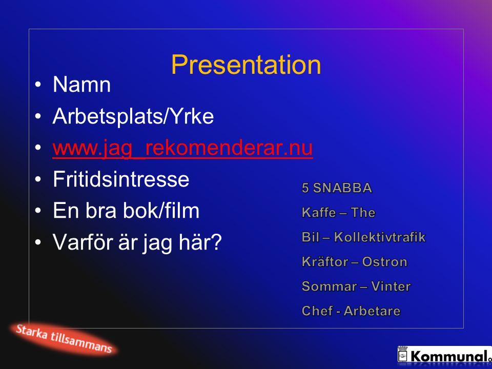 Presentation Namn Arbetsplats/Yrke www.jag_rekomenderar.nu
