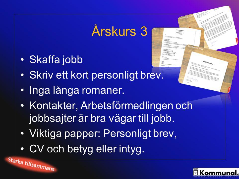 Årskurs 3 Skaffa jobb Skriv ett kort personligt brev.