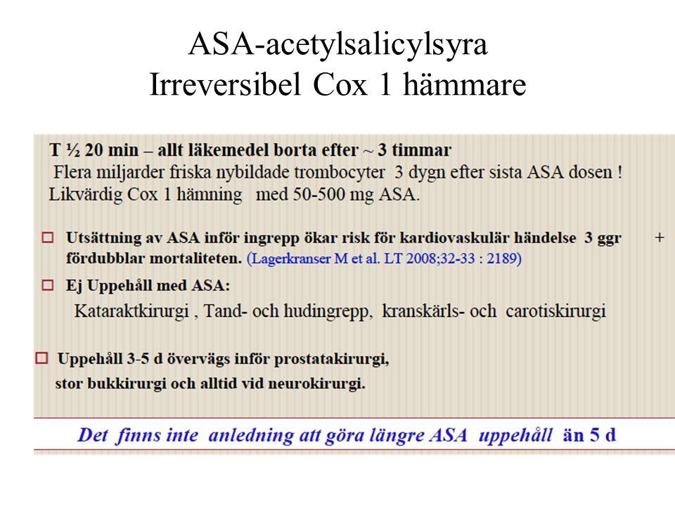 ASA-acetylsalicylsyra Irreversibel Cox 1 hämmare