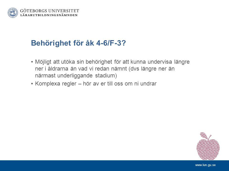 Behörighet för åk 4-6/F-3