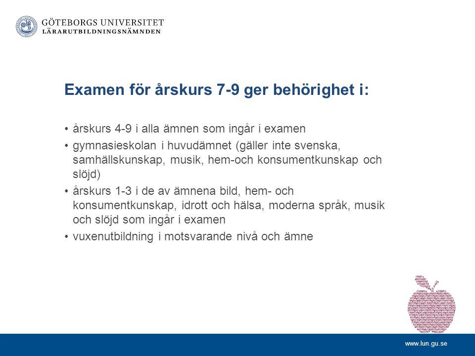 Examen för årskurs 7-9 ger behörighet i: