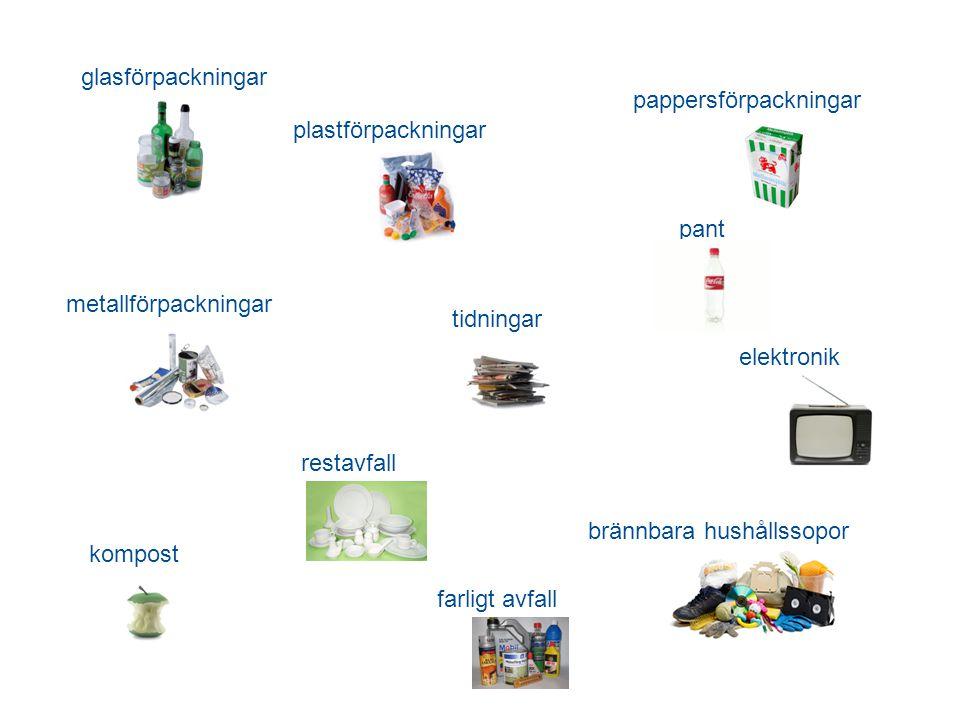 glasförpackningar pappersförpackningar. plastförpackningar. pant. metallförpackningar. tidningar.