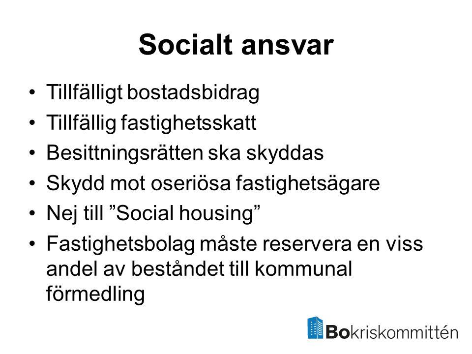 Socialt ansvar Tillfälligt bostadsbidrag Tillfällig fastighetsskatt