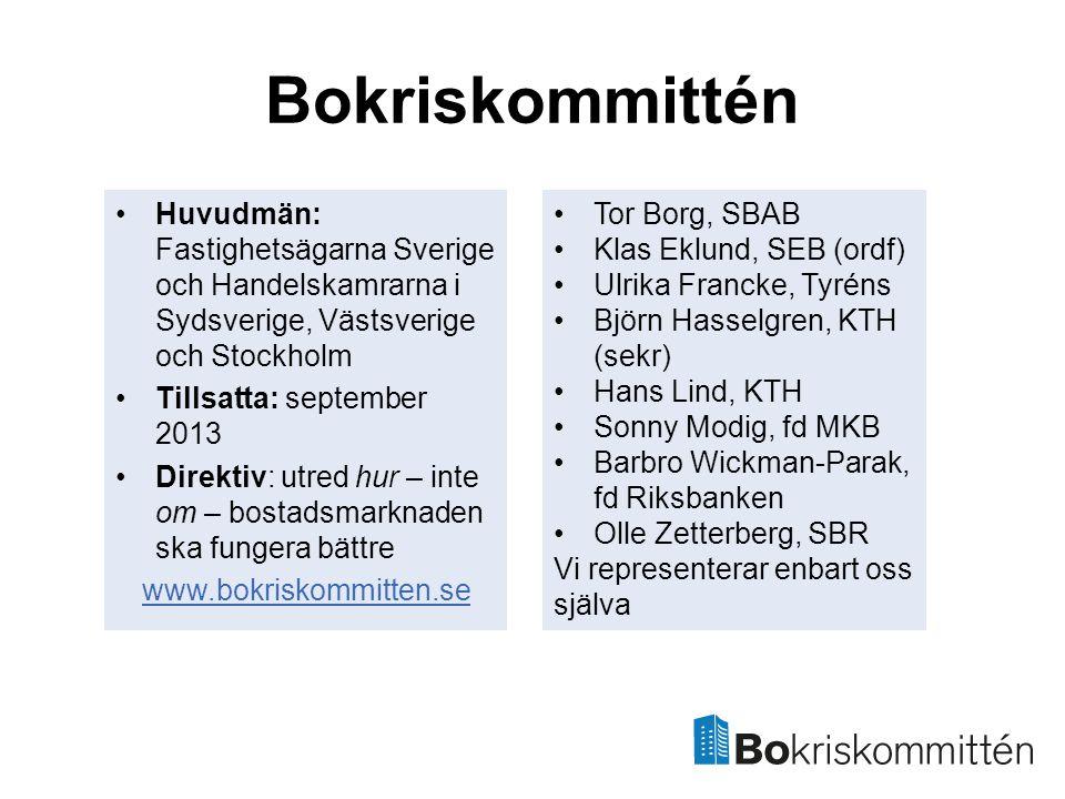 Bokriskommittén Huvudmän: Fastighetsägarna Sverige och Handelskamrarna i Sydsverige, Västsverige och Stockholm.