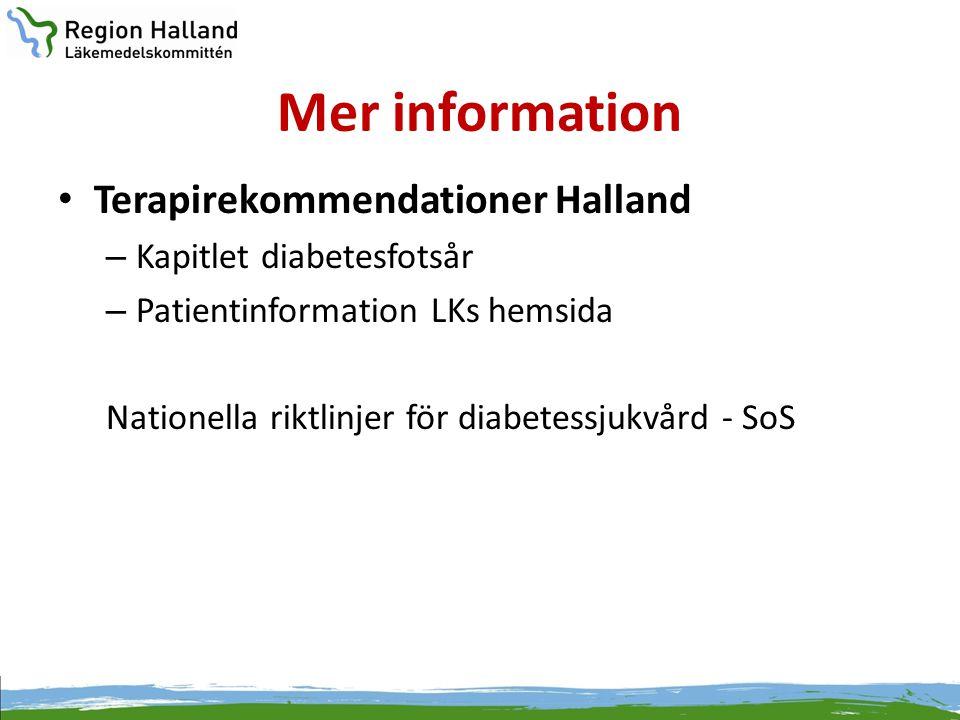 Mer information Terapirekommendationer Halland Kapitlet diabetesfotsår