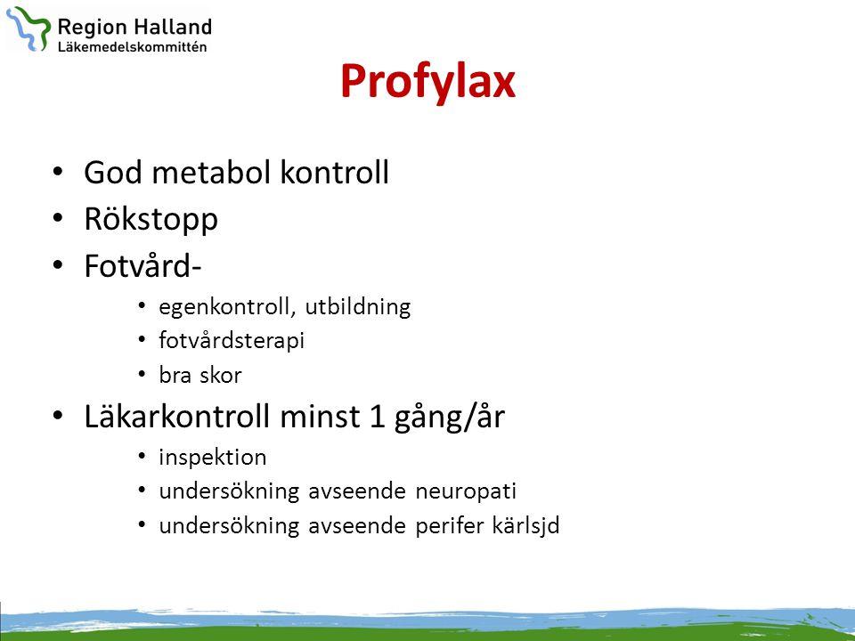 Profylax God metabol kontroll Rökstopp Fotvård-