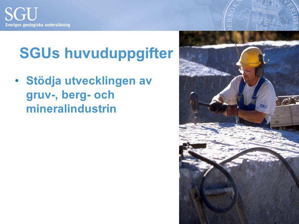 SGUs huvuduppgifter Stödja utvecklingen av gruv-, berg- och mineralindustrin.