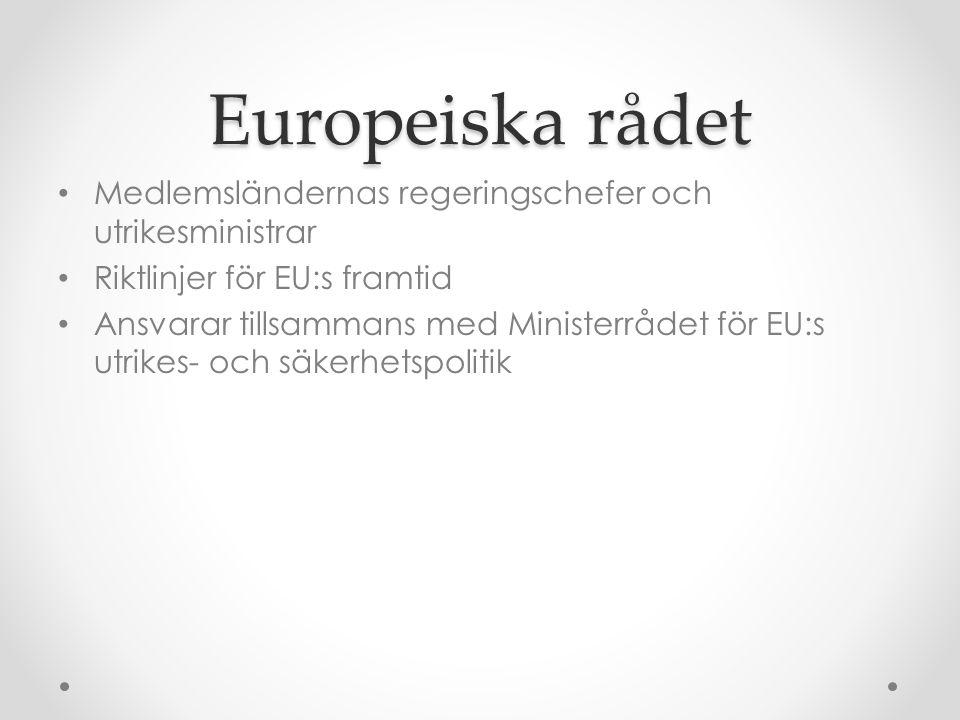 Europeiska rådet Medlemsländernas regeringschefer och utrikesministrar