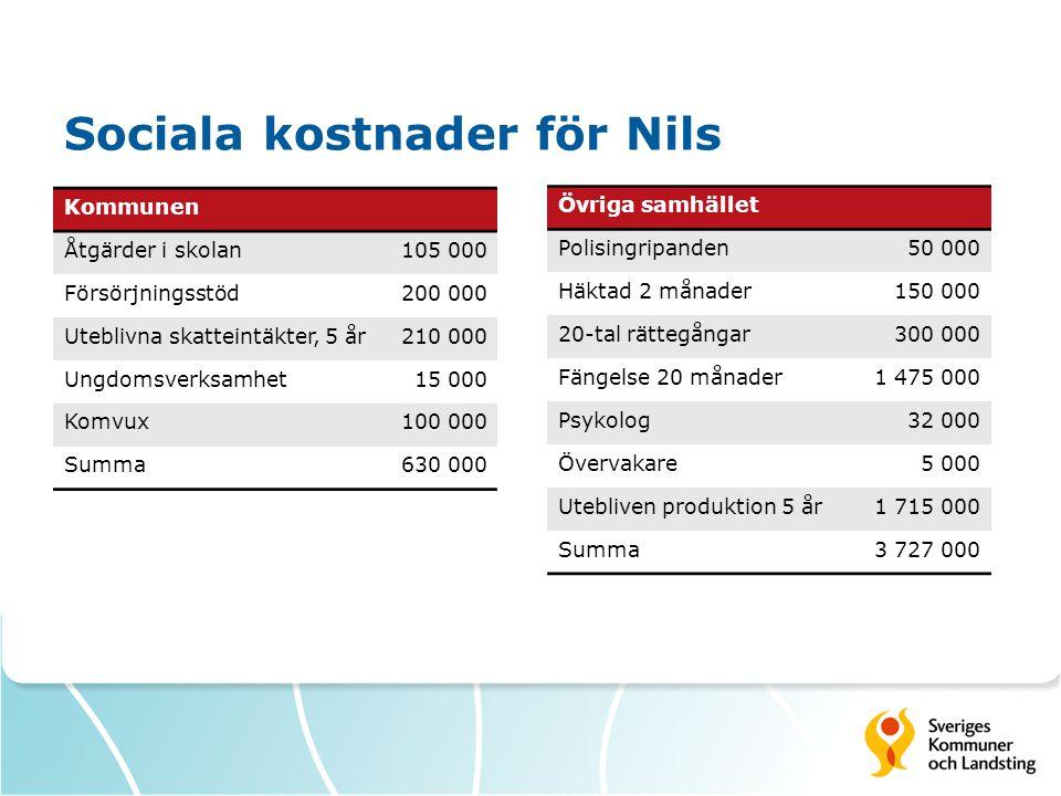 Sociala kostnader för Nils
