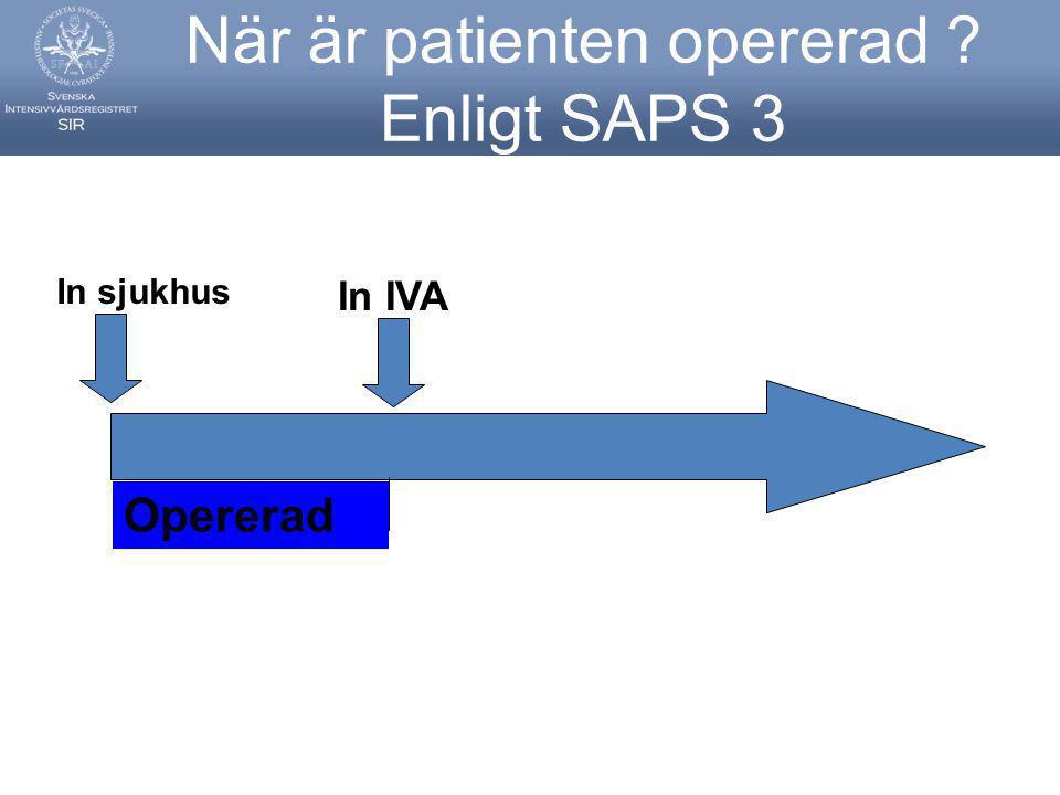 När är patienten opererad Enligt SAPS 3