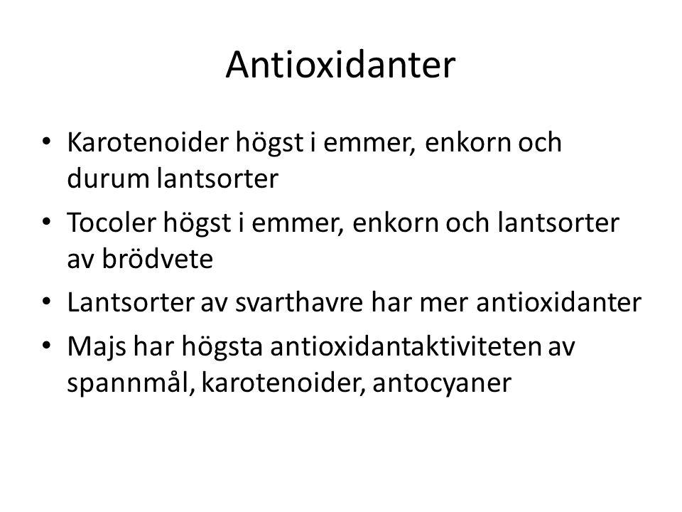 Antioxidanter Karotenoider högst i emmer, enkorn och durum lantsorter