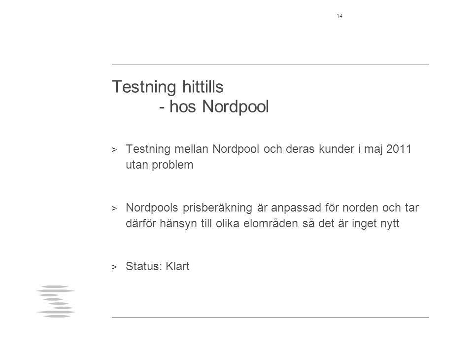 Testning hittills - hos Nordpool