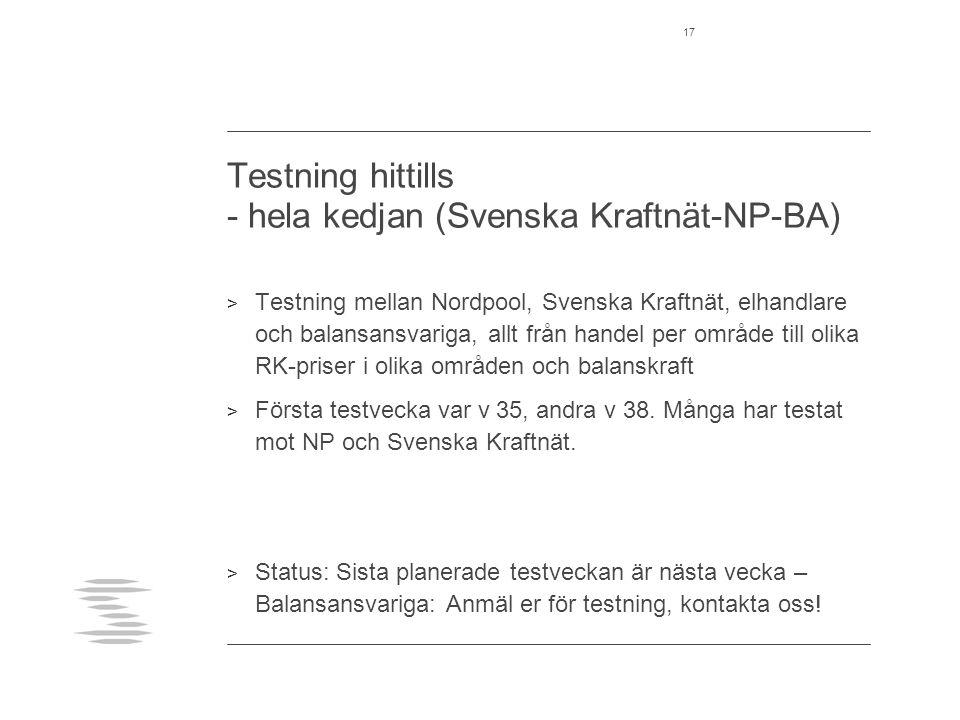 Testning hittills - hela kedjan (Svenska Kraftnät-NP-BA)