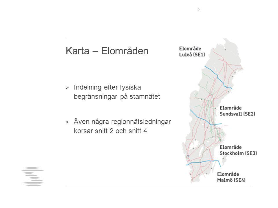 Karta – Elområden Indelning efter fysiska begränsningar på stamnätet