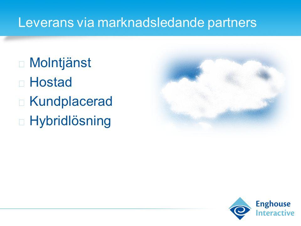 Leverans via marknadsledande partners