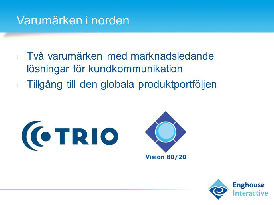 Varumärken i norden Två varumärken med marknadsledande lösningar för kundkommunikation.