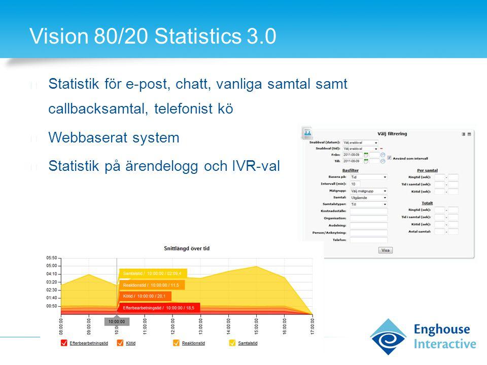 Vision 80/20 Statistics 3.0 Statistik för e-post, chatt, vanliga samtal samt callbacksamtal, telefonist kö.