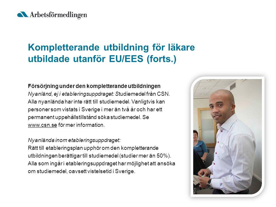 Kompletterande utbildning för läkare utbildade utanför EU/EES (forts.)