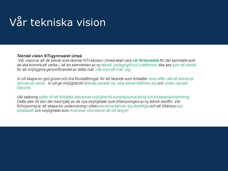 Vår tekniska vision Teknisk vision NTI-gymnasiet Umeå