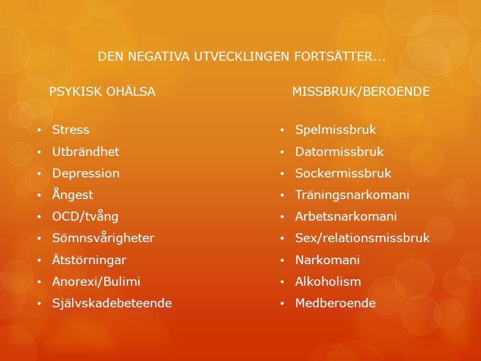 DEN NEGATIVA UTVECKLINGEN FORTSÄTTER...