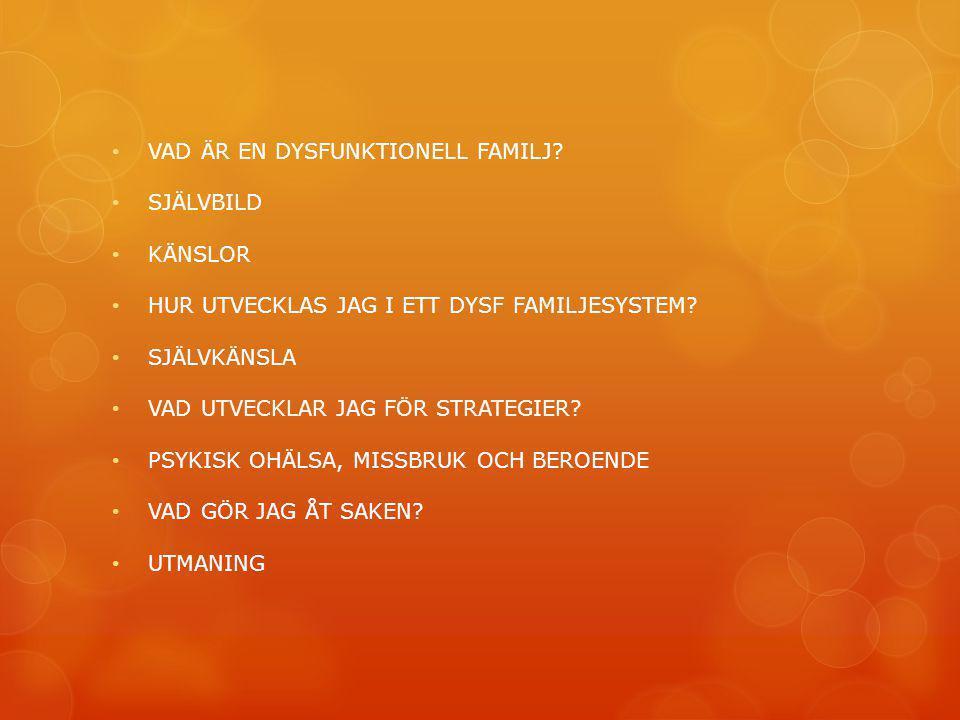 VAD ÄR EN DYSFUNKTIONELL FAMILJ