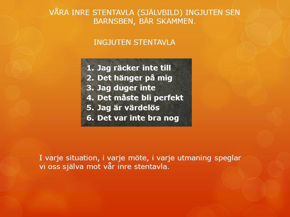 VÅRA INRE STENTAVLA (SJÄLVBILD) INGJUTEN SEN BARNSBEN, BÄR SKAMMEN.