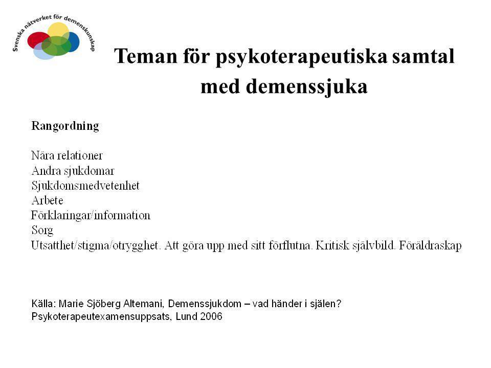 Teman för psykoterapeutiska samtal med demenssjuka