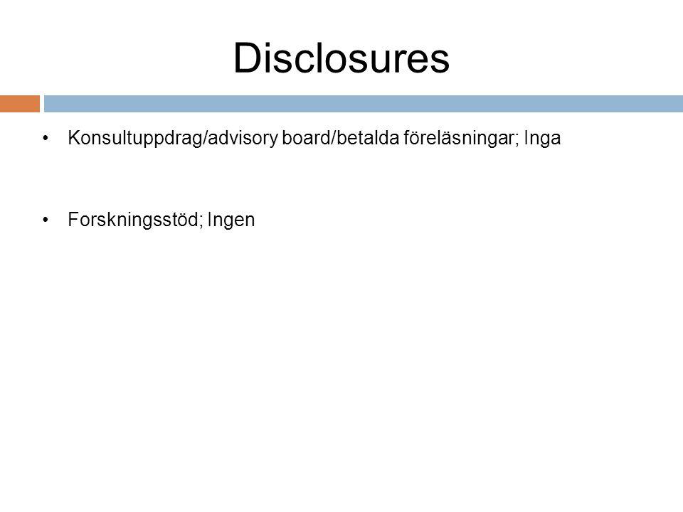 Disclosures Konsultuppdrag/advisory board/betalda föreläsningar; Inga