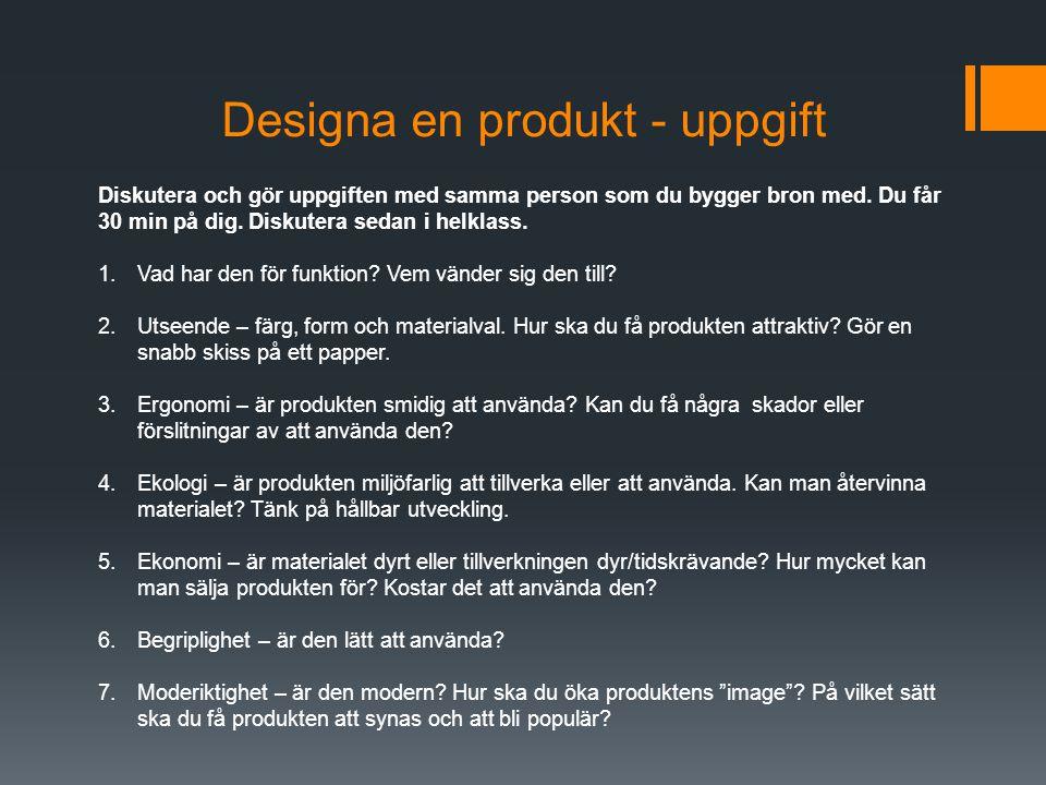 Designa en produkt - uppgift