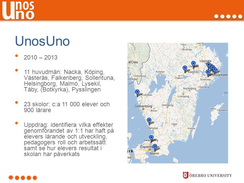 UnosUno 2010 – 2013. 11 huvudmän: Nacka, Köping, Västerås, Falkenberg, Sollentuna, Helsingborg, Malmö, Lysekil, Täby, (Botkyrka), Pysslingen.