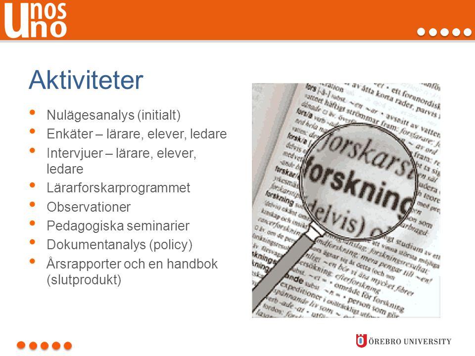Aktiviteter Nulägesanalys (initialt) Enkäter – lärare, elever, ledare