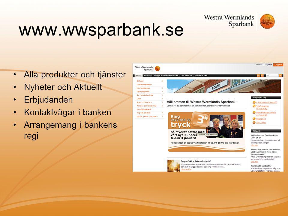 www.wwsparbank.se Alla produkter och tjänster Nyheter och Aktuellt