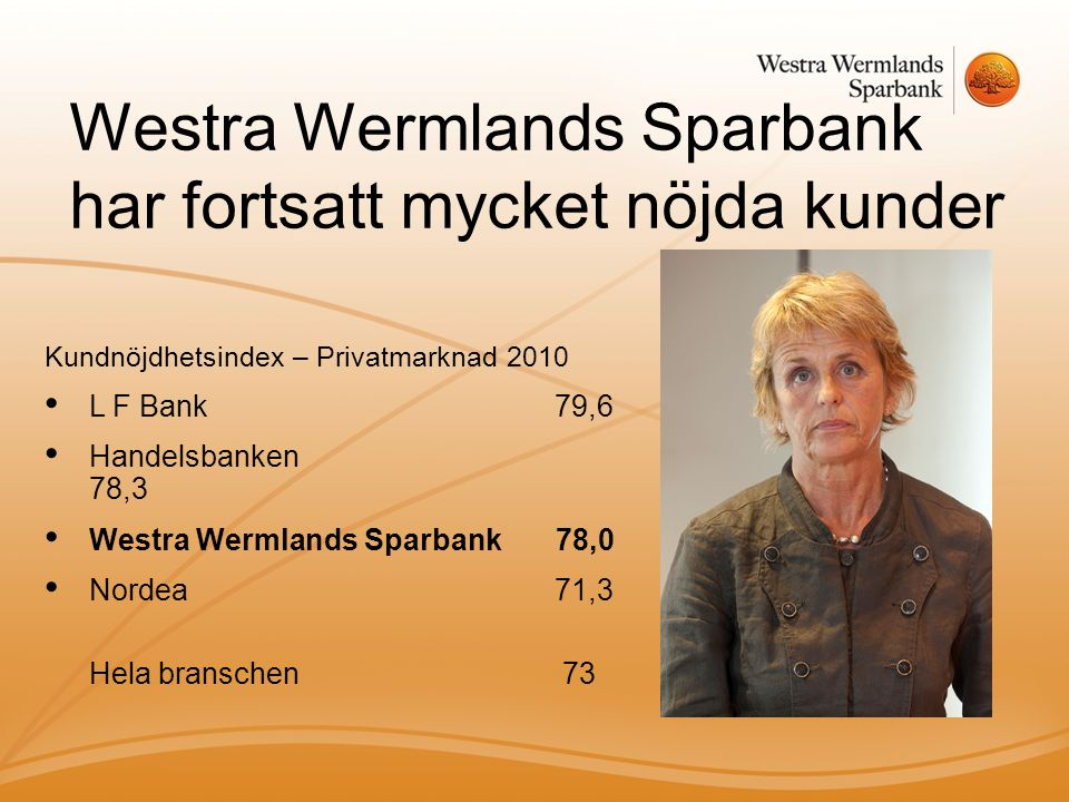 Westra Wermlands Sparbank har fortsatt mycket nöjda kunder