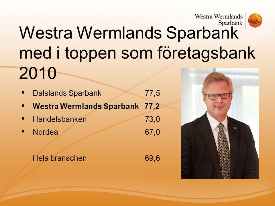 Westra Wermlands Sparbank med i toppen som företagsbank 2010