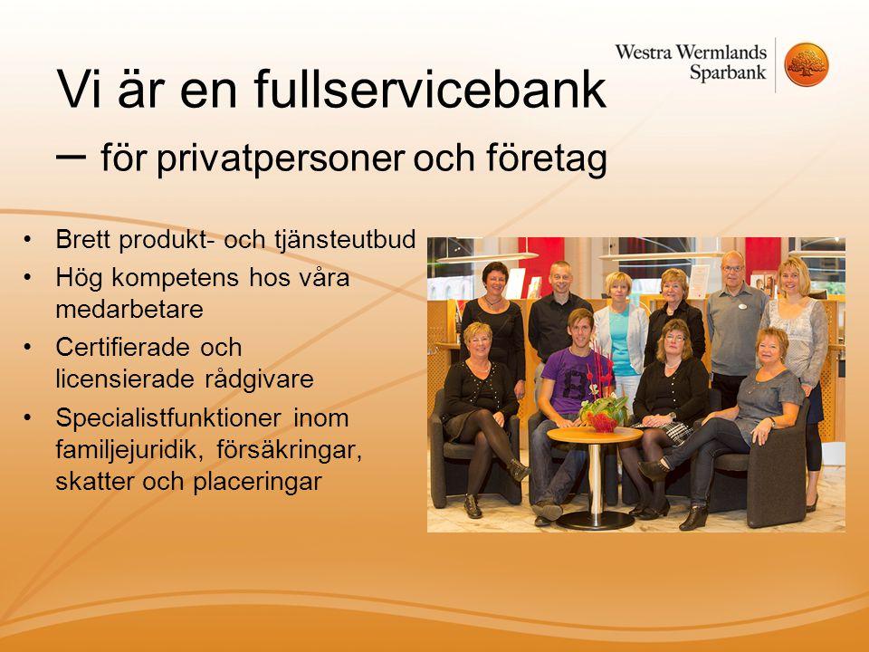 Vi är en fullservicebank – för privatpersoner och företag
