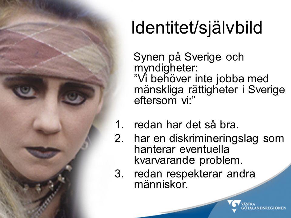 Identitet/självbild Synen på Sverige och myndigheter: Vi behöver inte jobba med mänskliga rättigheter i Sverige eftersom vi: