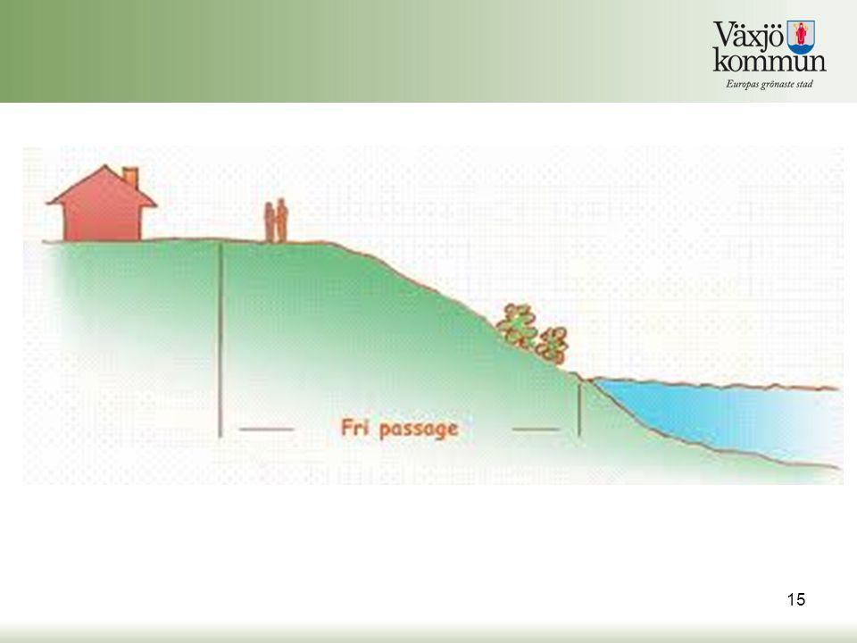 Fri passage Vid utformning av den fria passagen bör man ta hänsyn till den aktuella strandens.