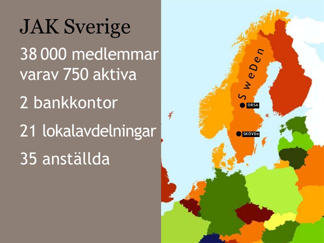 JAK Sverige 38 000 medlemmar varav 750 aktiva 2 bankkontor 21 35