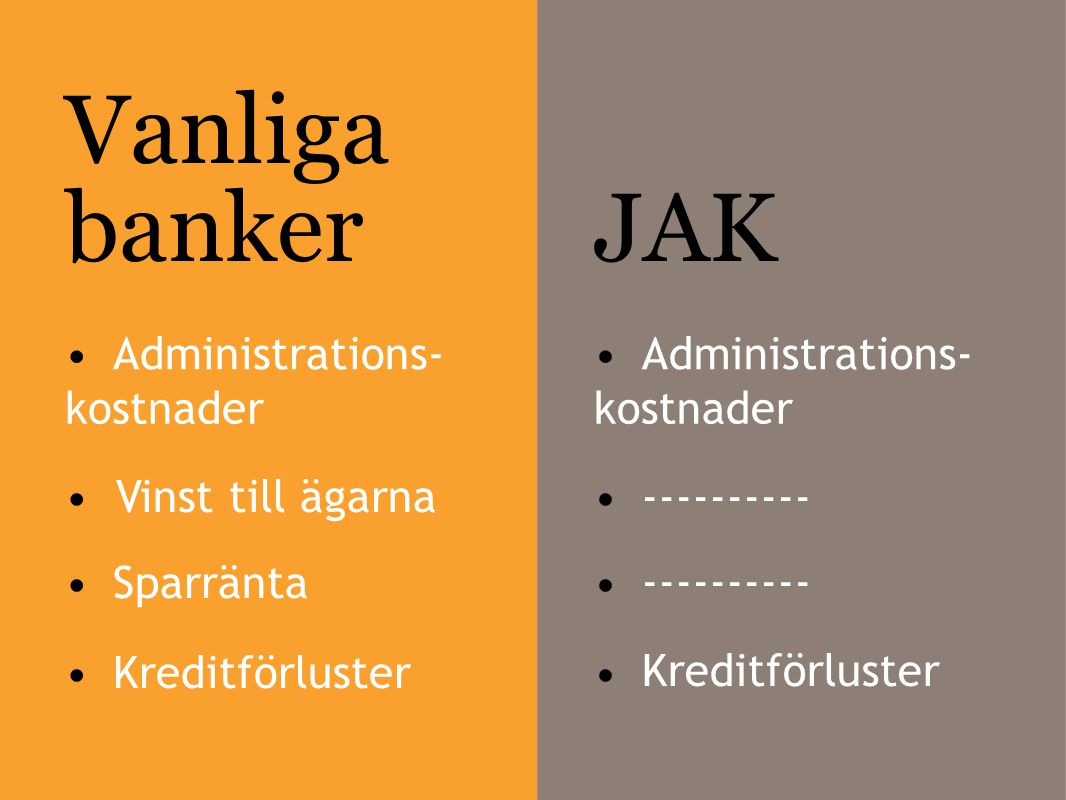 Vanliga banker JAK • Administrations- • Administrations- kostnader