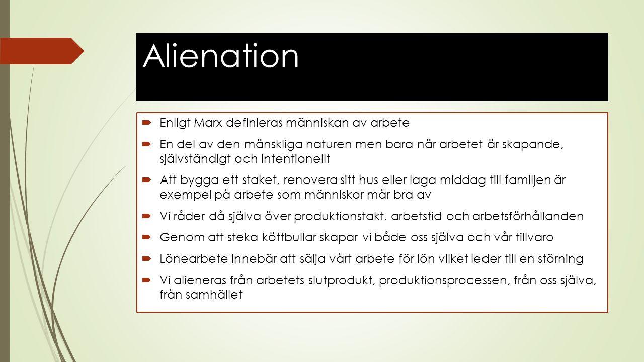 Alienation Enligt Marx definieras människan av arbete