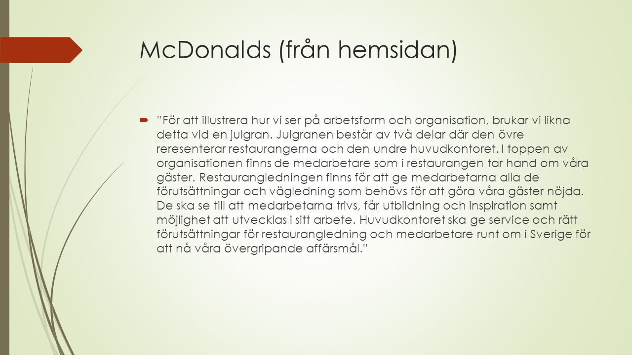 McDonalds (från hemsidan)