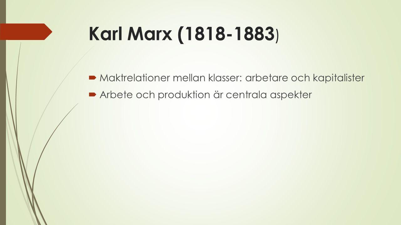 Karl Marx (1818-1883) Maktrelationer mellan klasser: arbetare och kapitalister.