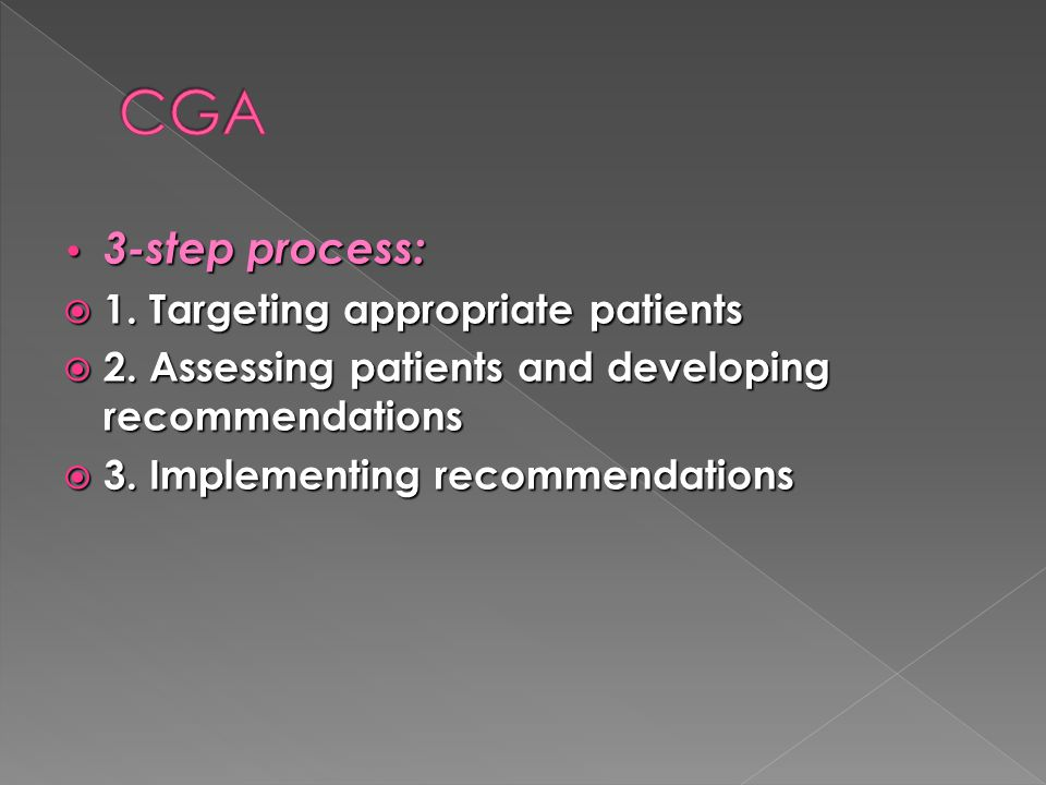 CGA 3-step process: 1. Targeting appropriate patients